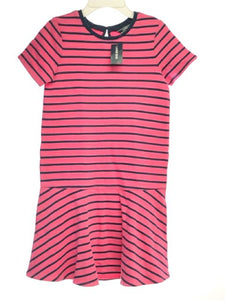 Girl's Lands End SIZE 10/12 Pink NEW Short Sleeve Stripe French Terry Dress