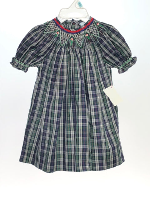 Remember Nguyen SIZE 6 Months Green Short Sleeve Smocked Plaid Dress