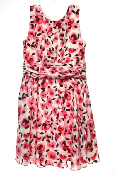 Kate Spade SIZE 12 Pink NEW Sleeveless Ruching Floral Dress