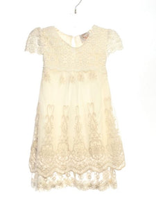 Think Pink Bows SIZE 12-18 Months Cream Short Sleeve Crochet Solid Dress