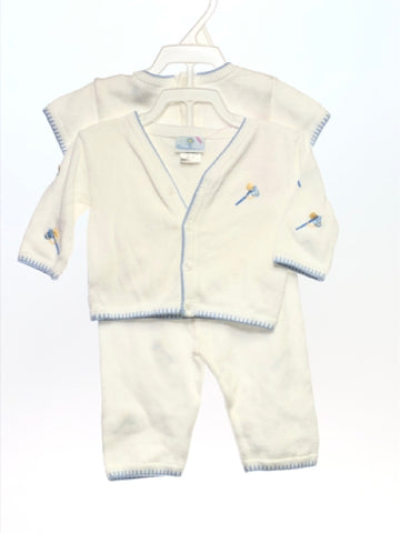 Florence Eiseman SIZE 3 Months White Embroidered Knit Pant Set