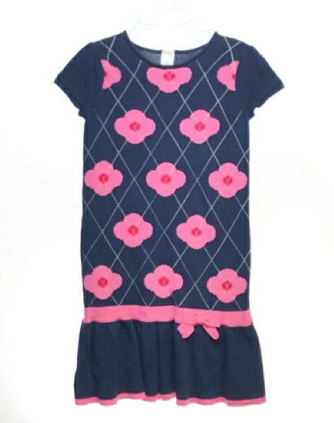 Girl's Gymboree SIZE 8 Navy Short Sleeve Bow Floral Knit Dress