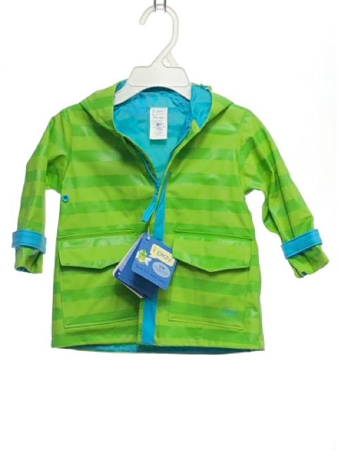I Play SIZE 6-12 Months Green NEW Stripe Hooded Water Repellent Raincoat