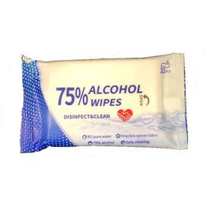 Disinfectant Wipes, Soft Pack Alcohol 75%, 10 Wipes Per Pack, 20 Packs Per Carton