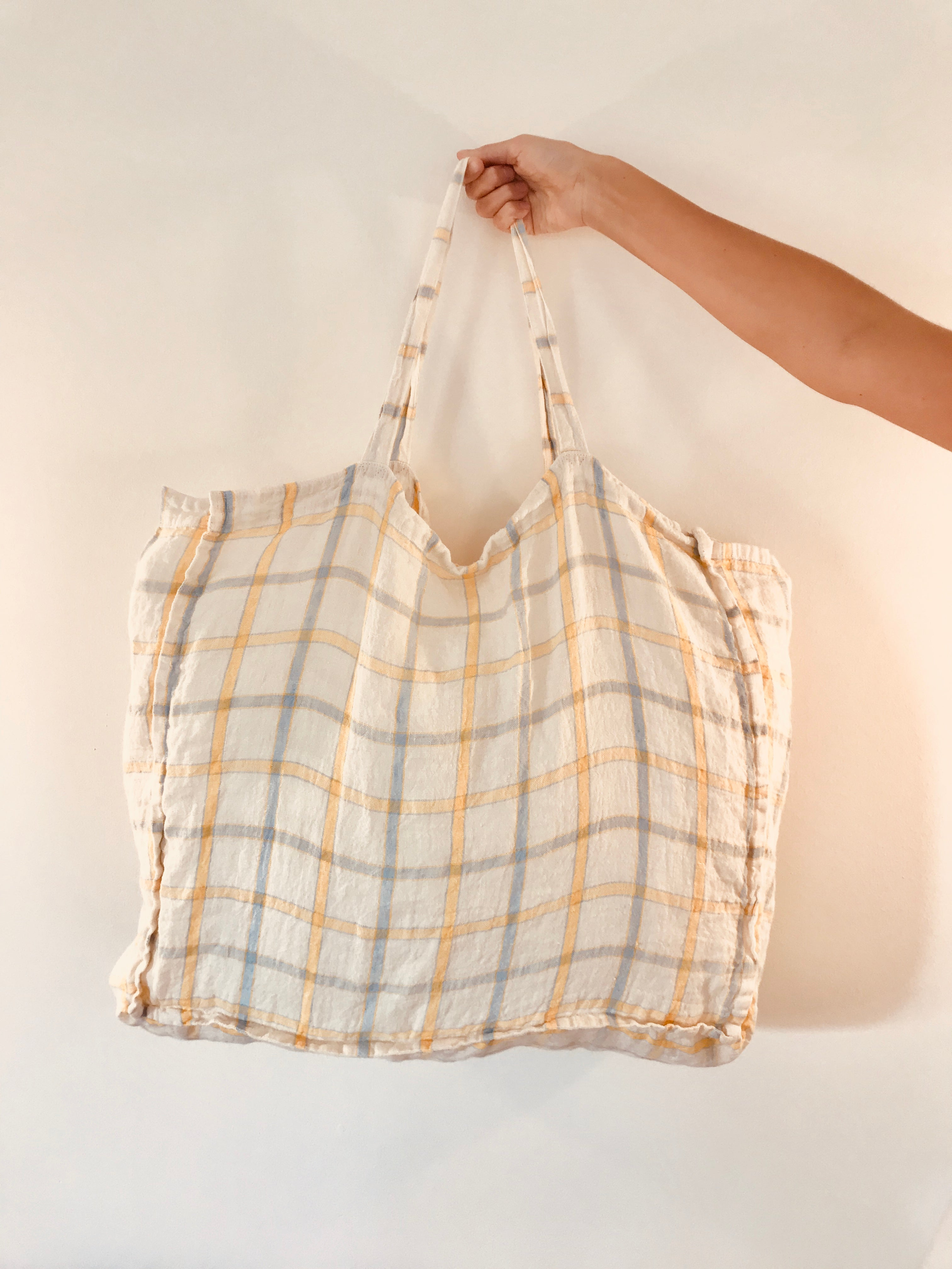 Linen Bag - Yellow Blue Stripes