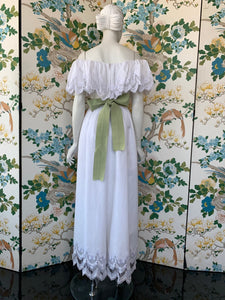 1980s William Pearson lace trim off the shoulder white summer dress