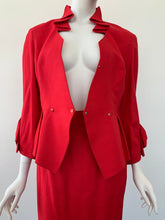 Load image into Gallery viewer, 1980s Thierry Mugler red peplum skirt suit