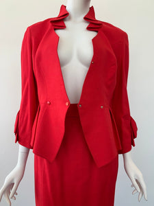 1980s Thierry Mugler red peplum skirt suit