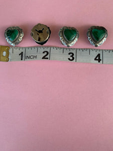Southwest malachite heart button covers (4)