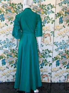 1940s Dorian floor length wrap dress for Franklin Simon department store