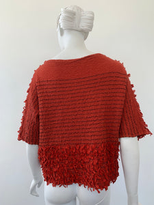 2000s Issey Miyake Cauliflower one size brick red knit top