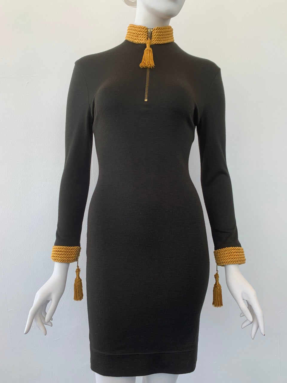 1992 Moschino Cheap and Chic knit bodycon dress with gold tassel trim neckline and cuffs