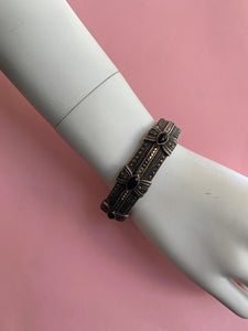 1930s art deco sterling silver clamp bracelet with marcasite & onyx