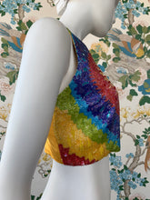 Load image into Gallery viewer, Spring 1992 Todd Oldham hand beaded rainbow tie dye bodice vest
