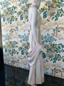 1970s Chester Weinberg halter silk dress with scarf wrap
