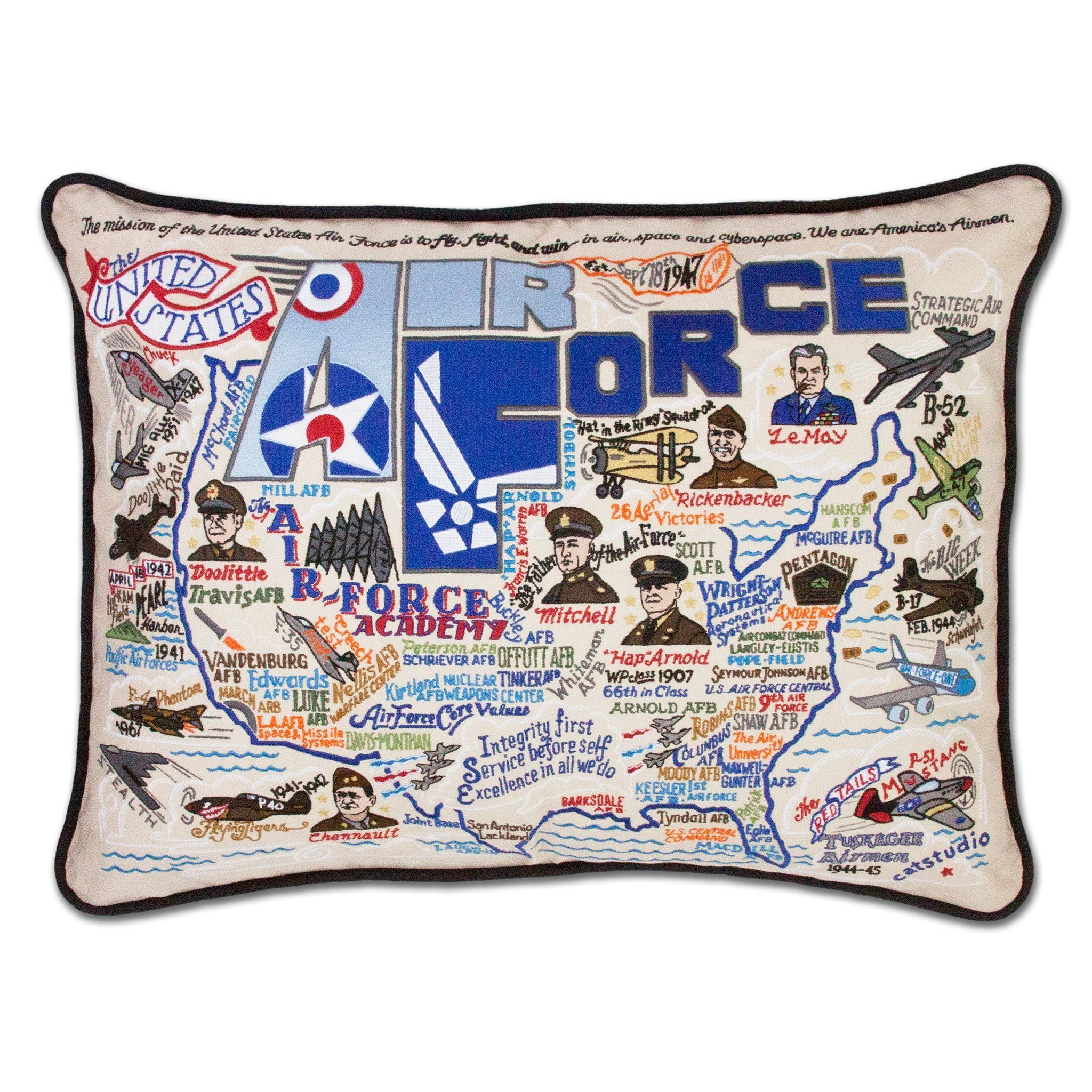 Cat Studio Air Force Embroidered Pillow