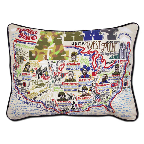 Cat Studio Army Embroidered Pillow
