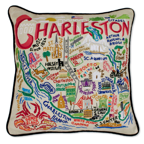 Cat Studio Charleston Embroidered Pillow