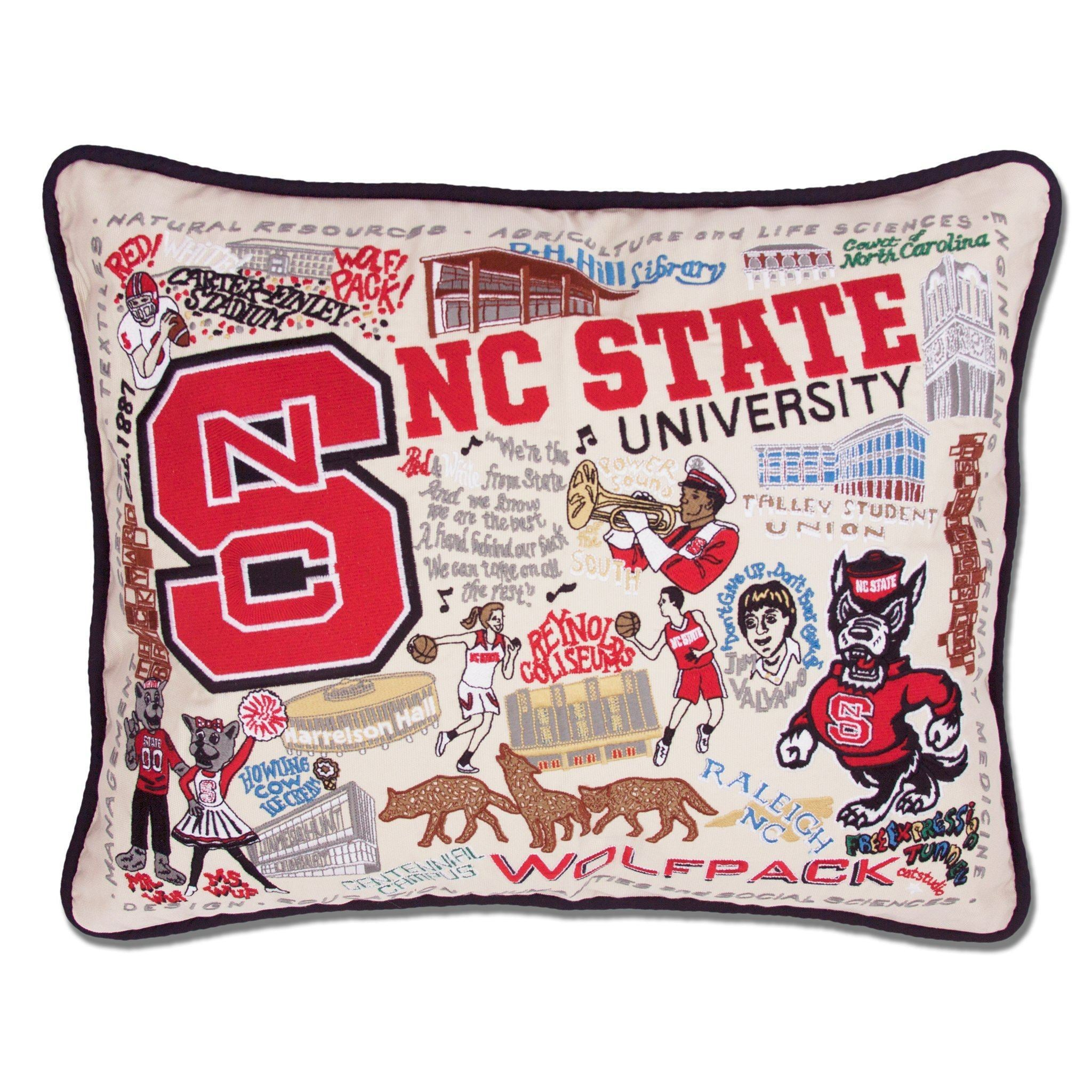 Cat Studio North Carolina State University Embroidered Pillow