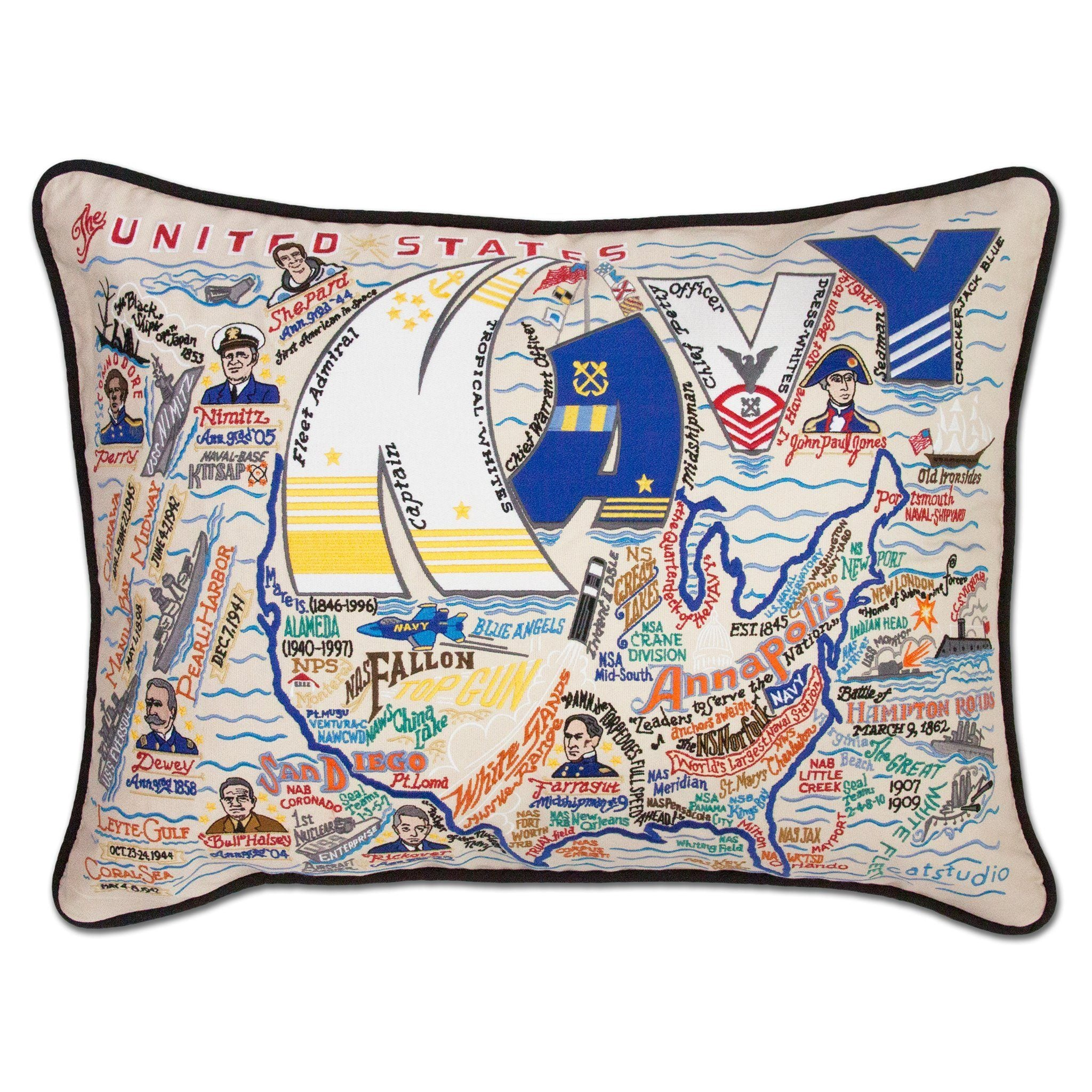 Cat Studio Navy Embroidered Pillow
