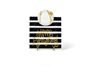 Happy Everything Black Stripe Square Plate (Big)