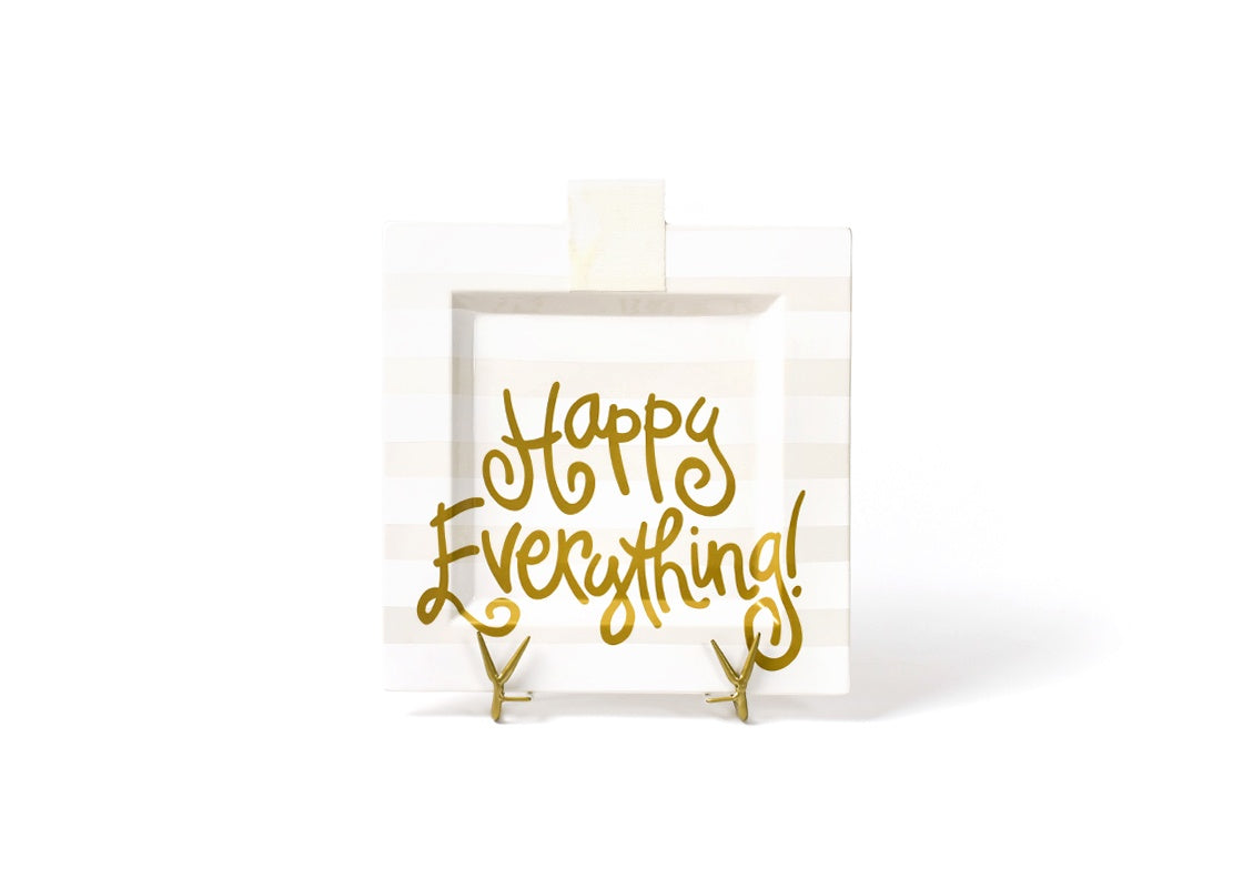 Happy Everything White Stripe Square Plate (Small)