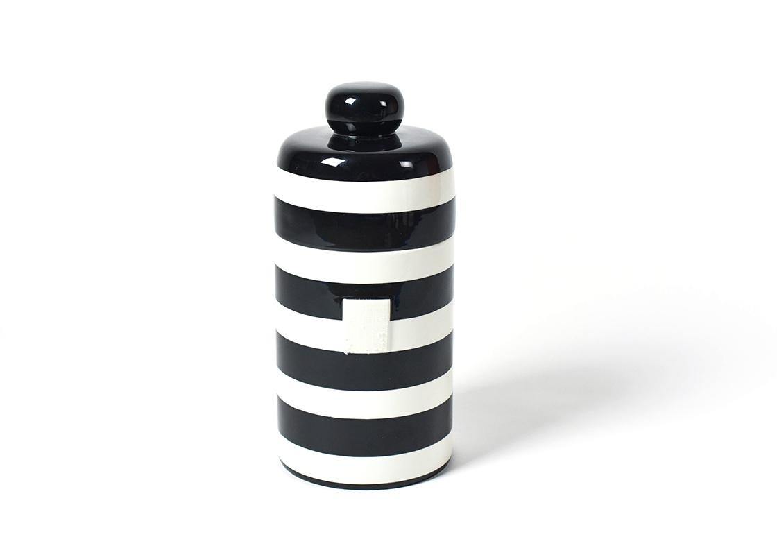 Happy Everything Black and White Stripe Canister