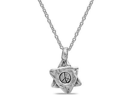 Large Star of David- Magen David Pendant with Peace Sign in Sterling Silver - Western Wall Jewelry
