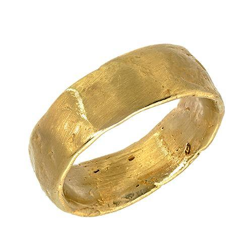 Gold Western Wall Imprint Ring (Wide Band)