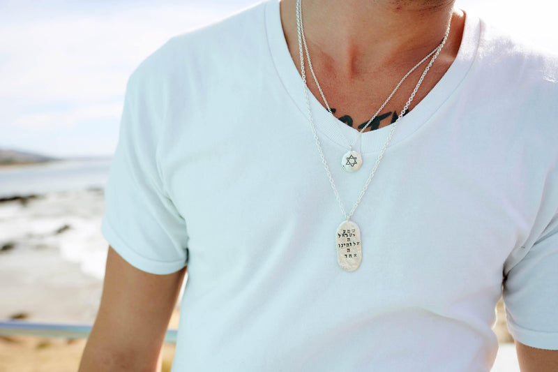 Larger Star of David Silver Pendant Necklace - Western Wall Jewelry