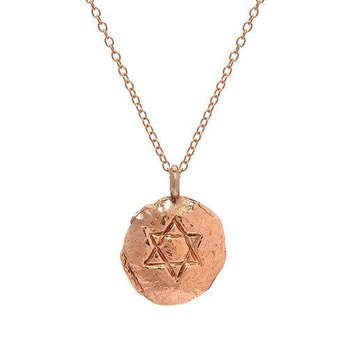 Gold Star of David Engraved Necklace