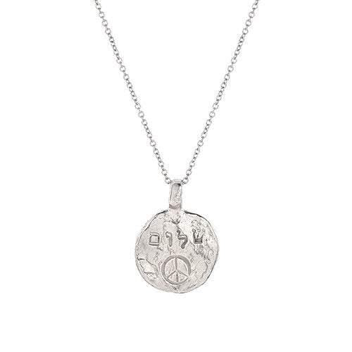 Gold Shalom (Peace) with Peace Sign Necklace