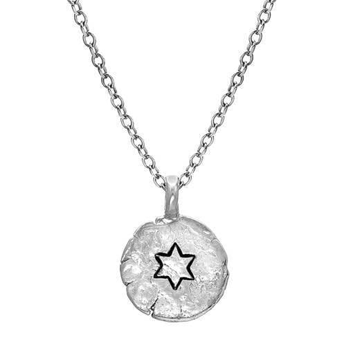 Small Engraved Star of David Silver Necklace - Western Wall Jewelry