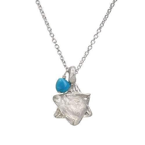 Large Star of David Charm with Turquoise Bead Necklace - Western Wall Jewelry