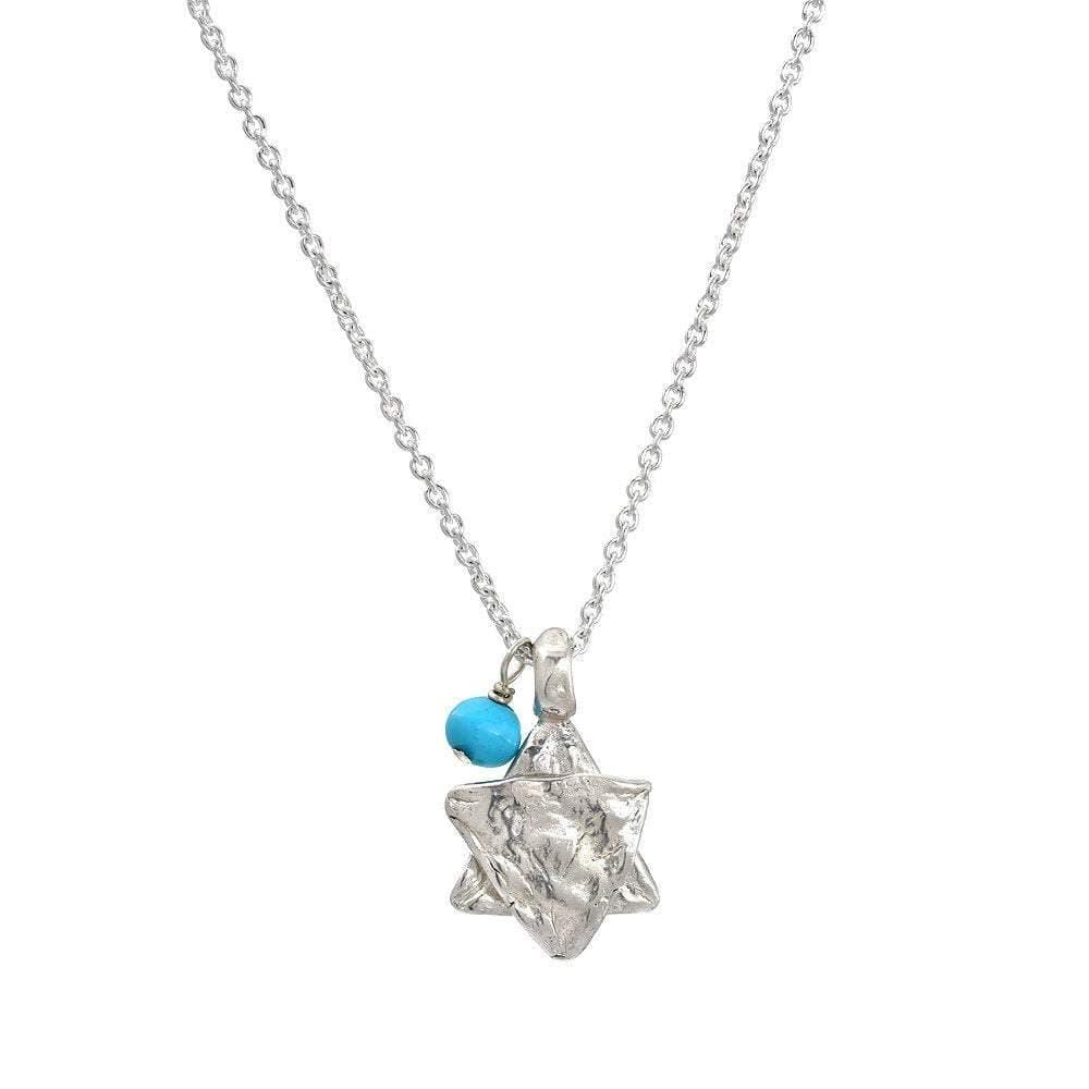 Large Star of David Charm with Turquoise Bead Necklace
