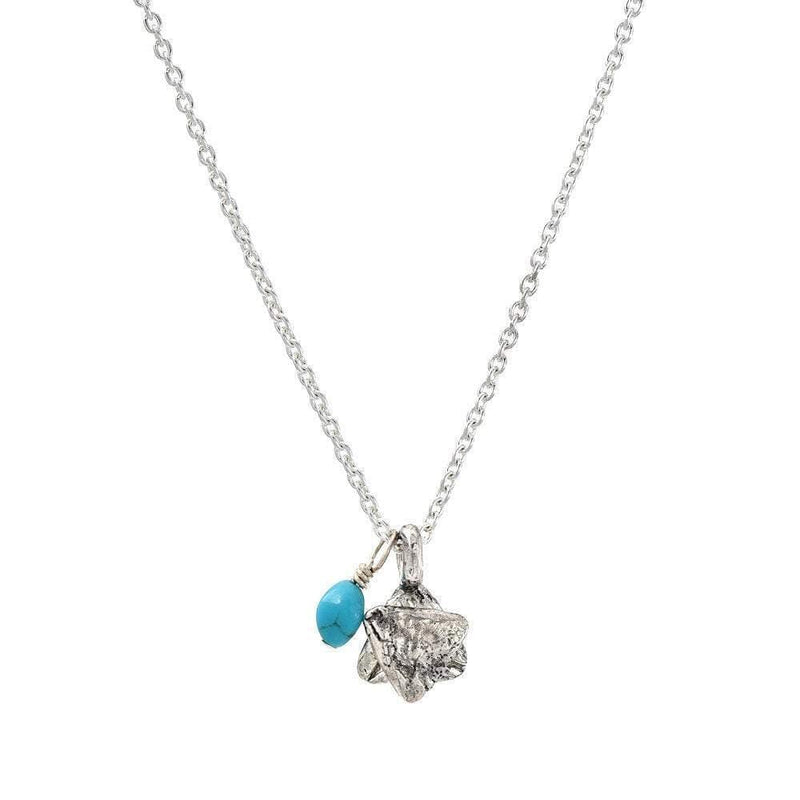 Star of David with Turquoise Bead, Jewish Necklace - Western Wall Jewelry