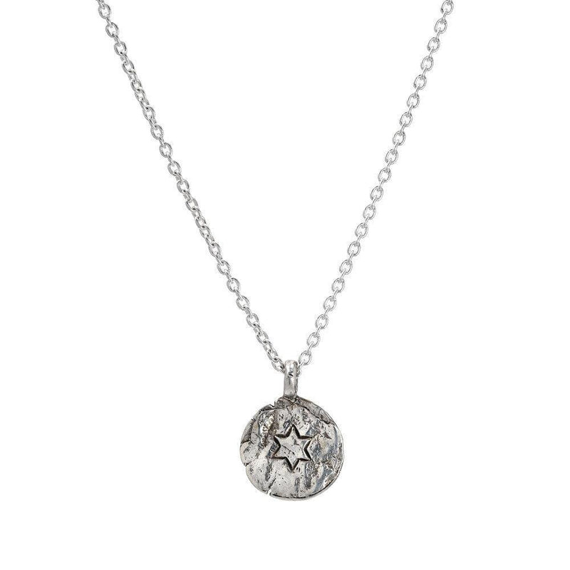 Small Engraved Star of David Silver Necklace