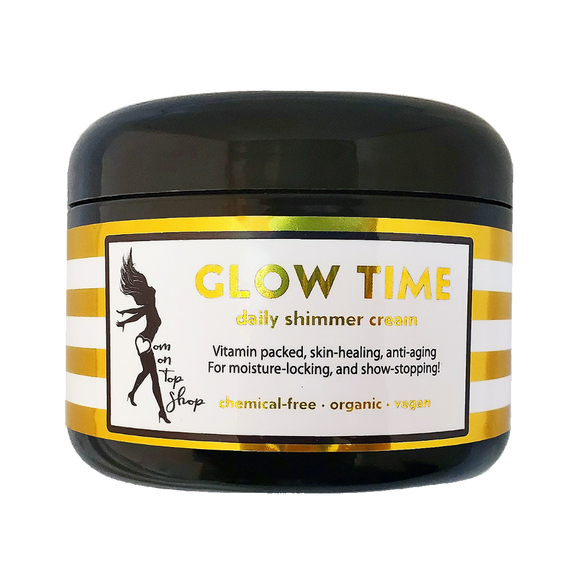 GLOW TIME! <br> *All natural, shimmer butter for daily skincare use  <br> *ALSO scars/marks/ashy skin/loose skin/cellulite/& more! <br>*Anti-itch, organic, vegan, chemical-free