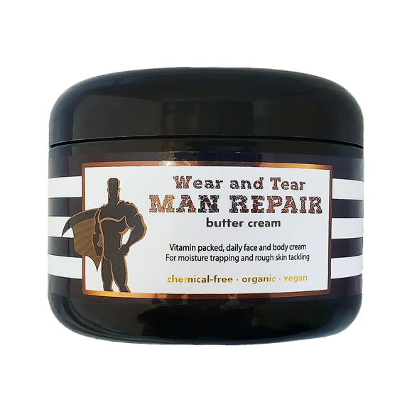Wear and Tear MAN REPAIR - cream - <br>*Daily wholesome face & body daily skincare <br>*ALSO for scars/marks/ashy skin/loose skin/cellulite/& more! <br>*Anti-itch, organic, vegan, chemical-free