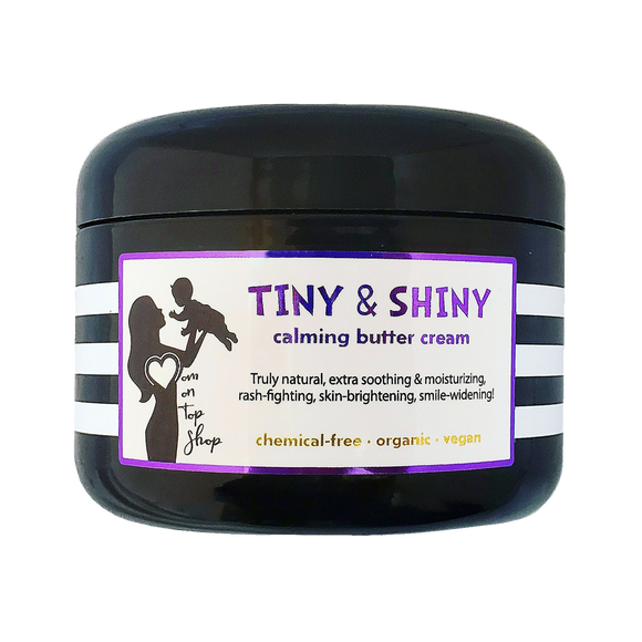 TINY AND SHINY! <br> *Organic, vegan, all-natural calming cream for hydration, bedtime, after-bath, eczema, & diaper rash! <br> *For babies, kids, adults with sensitive skin