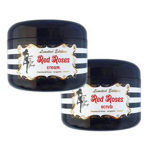 SAVE BIG! Red Roses-Naturally scented organic body butter scrub+cream for daily skincare use-ALSO for scars/marks/loose skin/cellulite/&more