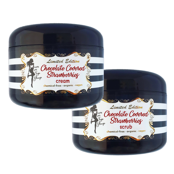 SAVE BIG! Chocolate Covered Strawberries organic body butter scrub+cream for daily skincare use-ALSO for scars/marks/loose skin/cellulite!