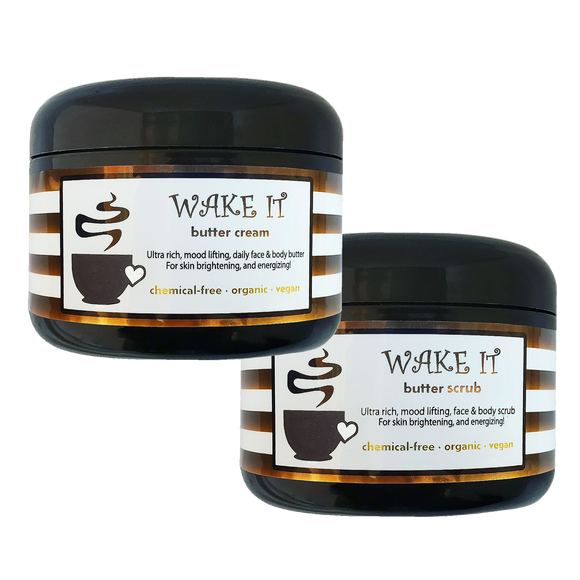 WAKE IT - Scrub+Cream <br>*Rich, intoxicating, unisex daily skin care<br>*ALSO for with scars/stretch marks/ashy skin/loose skin/cellulite/& more! <br>*Anti-itch, organic, vegan, chemical-free