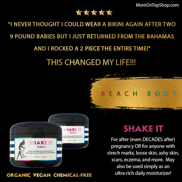 SHAKE IT - Butter scrub <br>*After (even DECADES after) pregnancy <br>*OR for anyone with scars/stretch marks, dry/ashy skin, loose skin, eczema <br>*OR just use as an everyday head-to-toe moisturizer! <br>*Anti-itch, organic, vegan, chemical-free