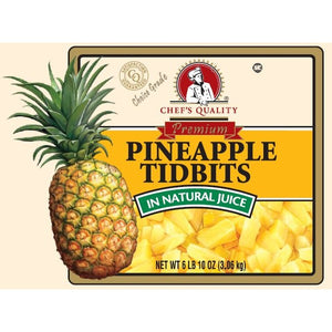 Chef's Quality - Pineapple Tidbits in Natural Juice, Choice - #10 cans