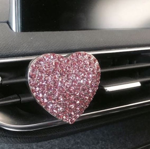 Peony Rose / Heart Shaped Pink Car Diffuser
