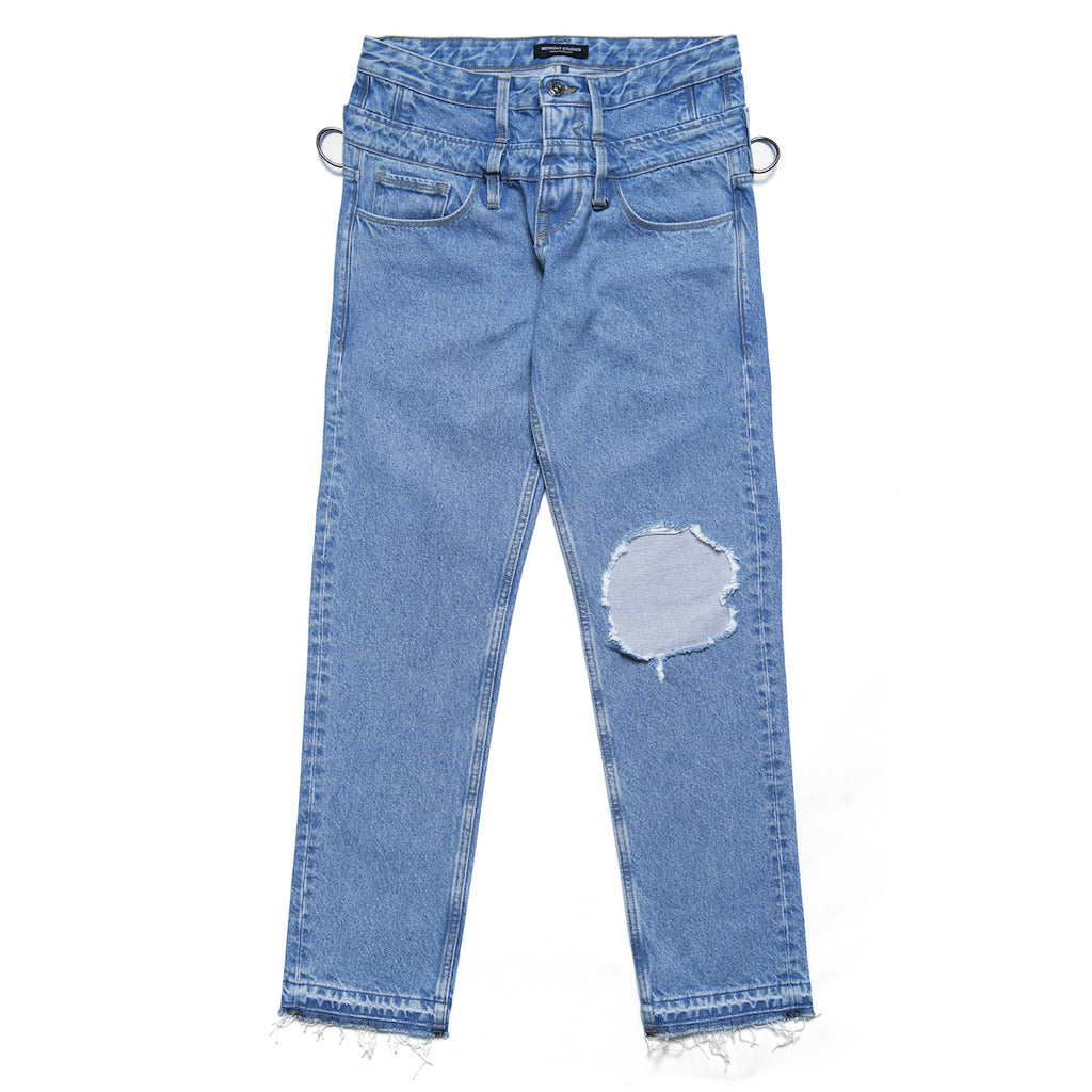 MIDNIGHT STUDIOS/GUESS® DOUBLE WAISTED JEANS (LIGHT INDIGO)