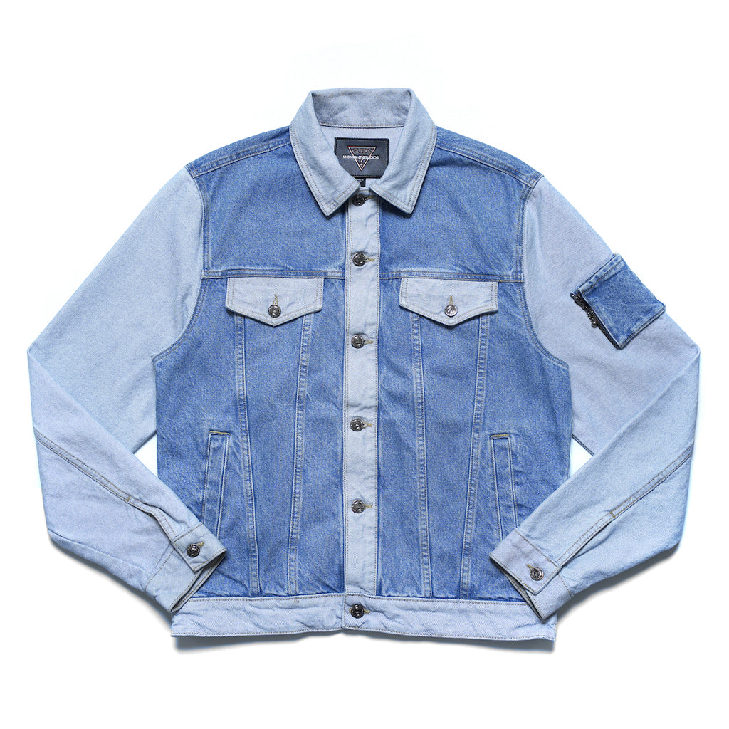 MIDNIGHT STUDIOS/GUESS® COLOR BLOCK JACKET (LIGHT INDIGO)