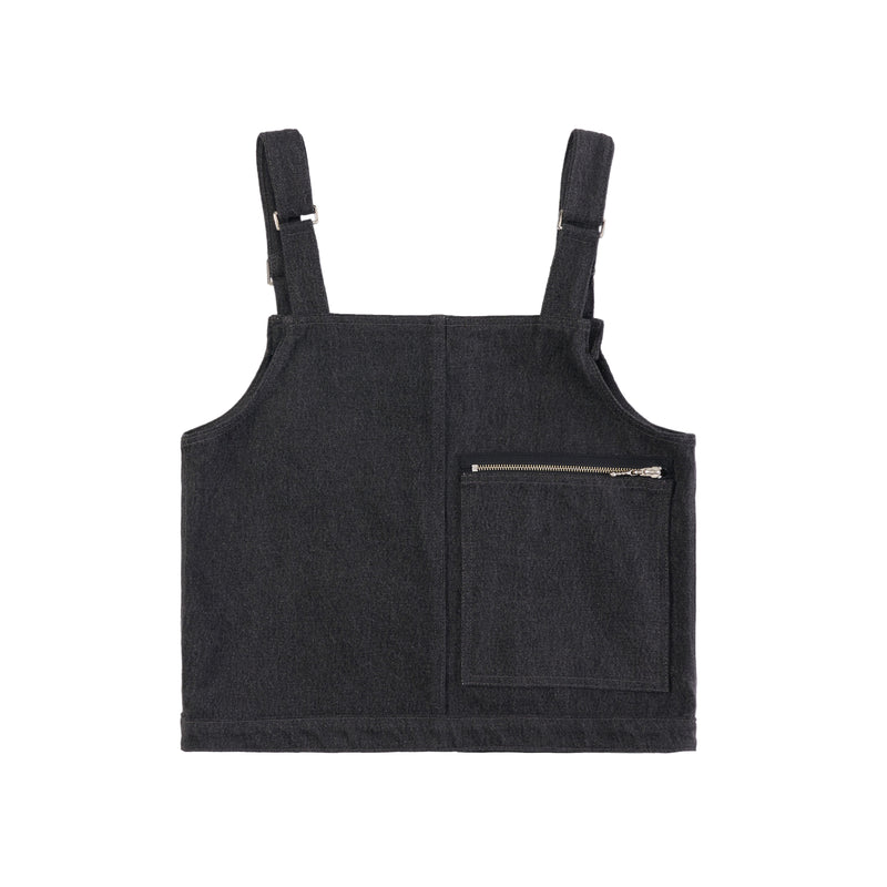 BLACK DENIM CARGO GILET VEST