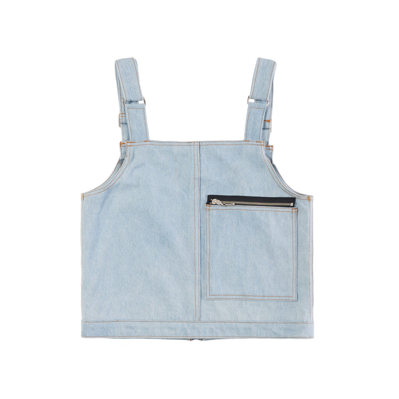 BLUE DENIM CARGO GILET VEST
